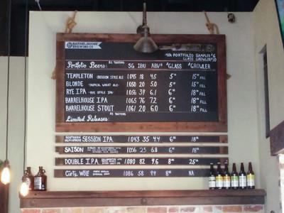 Beer Menu at Barrelhouse Brewing Co