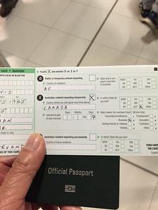 Customs exit card