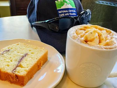 Starbucks lemon and raspberry cake and mocha