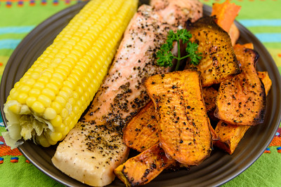 Salmon, sweet corn and sweet potato