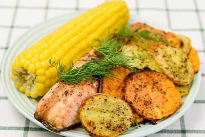 Salmon, corn, potato and sweet potato