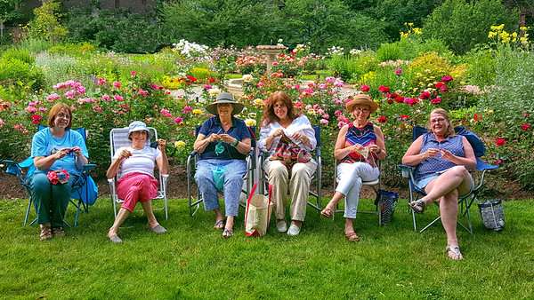 Celebrating Worldwide Knit in Public Day at Avis Campbell Gardens