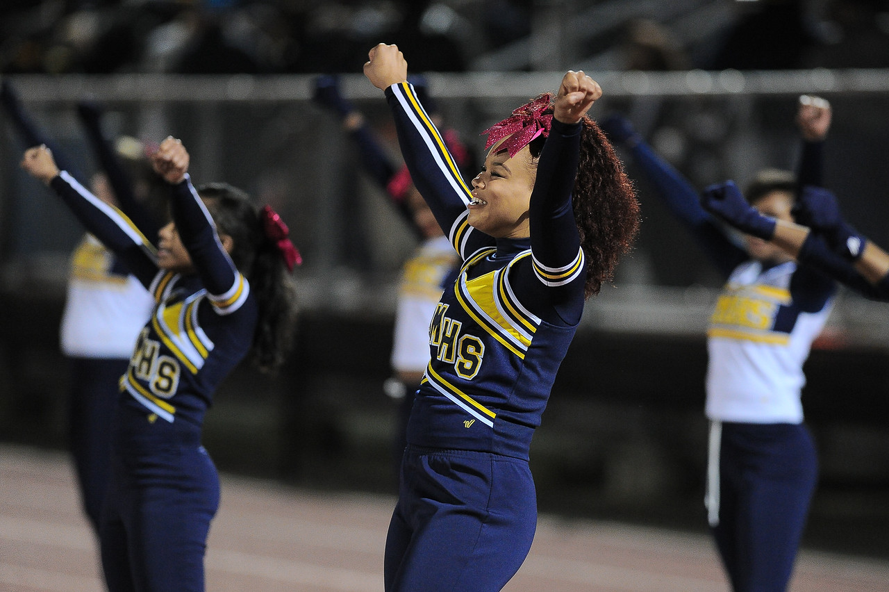 Rocky Mount cheerleaders during tonights games. Rocky Mount defeats Southern Nash 35-14 Friday evening October 30, 2015 in Rocky Mount, NC (Photos by Anthony Barham / WRAL contributor.)