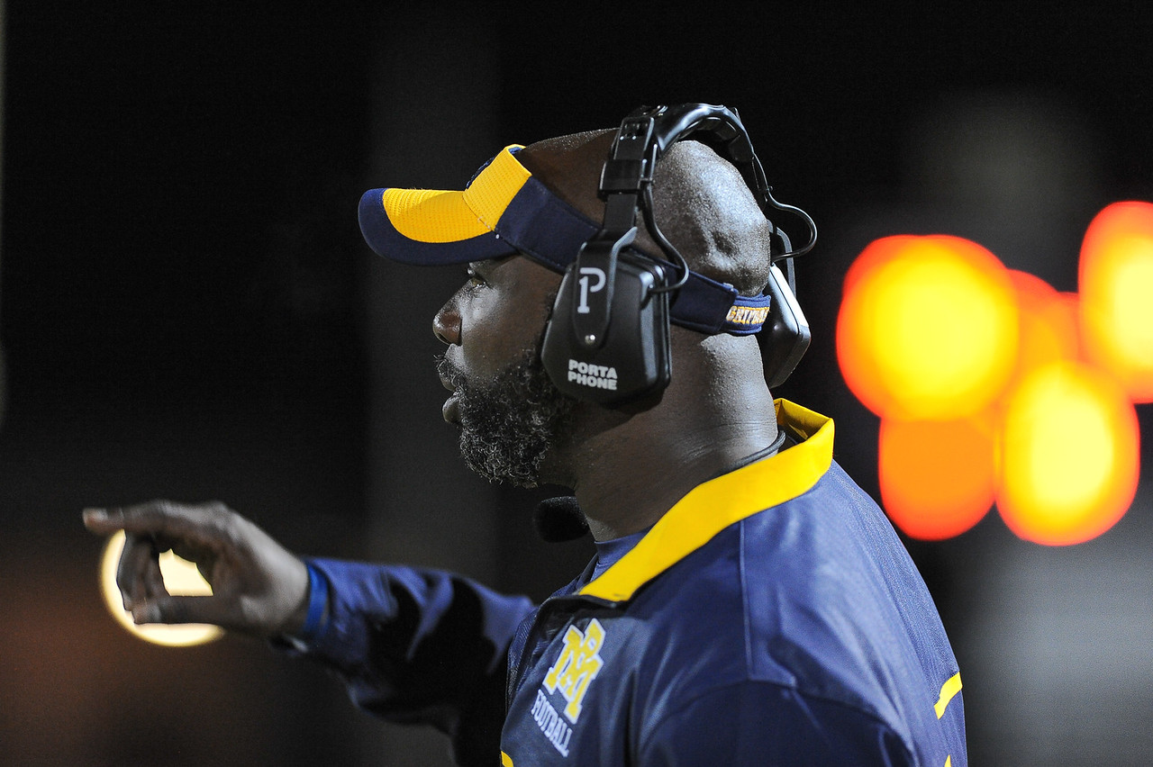 Rocky Mount coach during tonights game. Rocky Mount defeats Southern Nash 35-14 Friday evening October 30, 2015 in Rocky Mount, NC (Photos by Anthony Barham / WRAL contributor.)