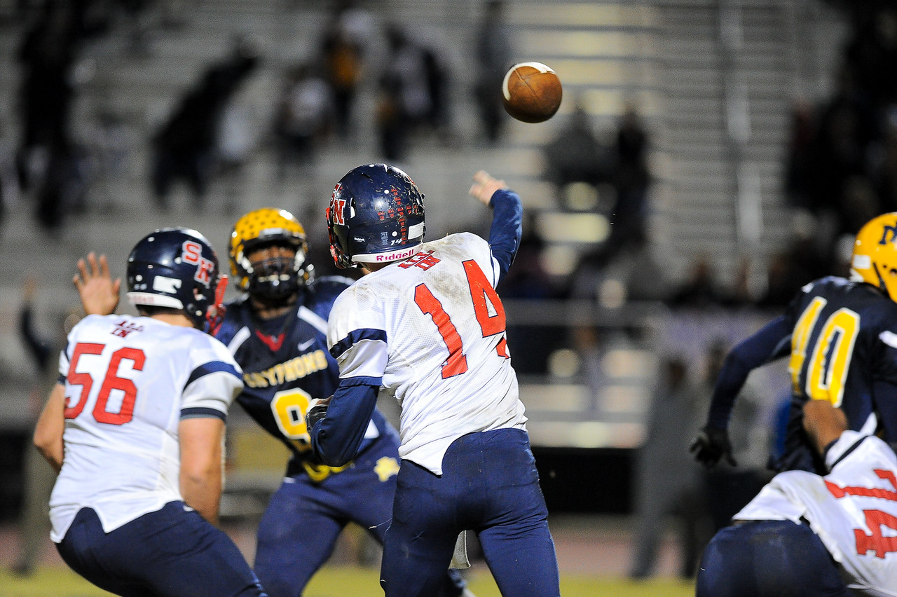Southern Nash Zack Foster (14) drops back to pass. Rocky Mount defeats Southern Nash 35-14 Friday evening October 30, 2015 in Rocky Mount, NC (Photos by Anthony Barham / WRAL contributor.)
