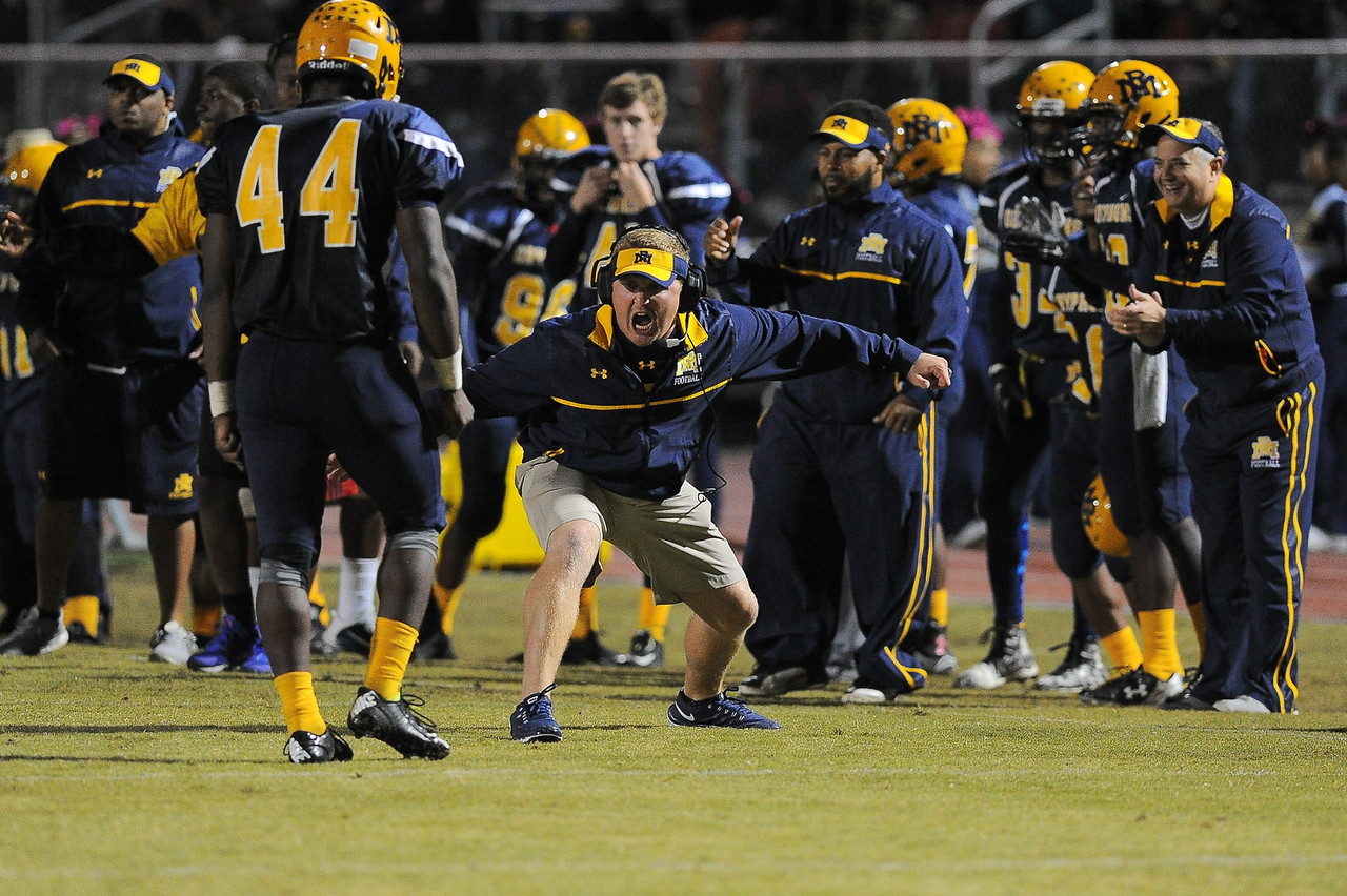 Rocky Mount coach during tonights game.Rocky Mount defeats Southern Nash 35-14 Friday evening October 30, 2015 in Rocky Mount, NC (Photos by Anthony Barham / WRAL contributor.)
