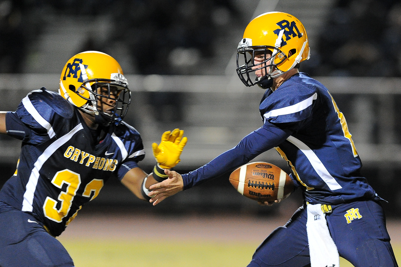 Rocky Mount Forrest Bell (17) and Rocky Mount Nick Bynum (32) Rocky Mount defeats Southern Nash 35-14 Friday evening October 30, 2015 in Rocky Mount, NC (Photos by Anthony Barham / WRAL contributor.)