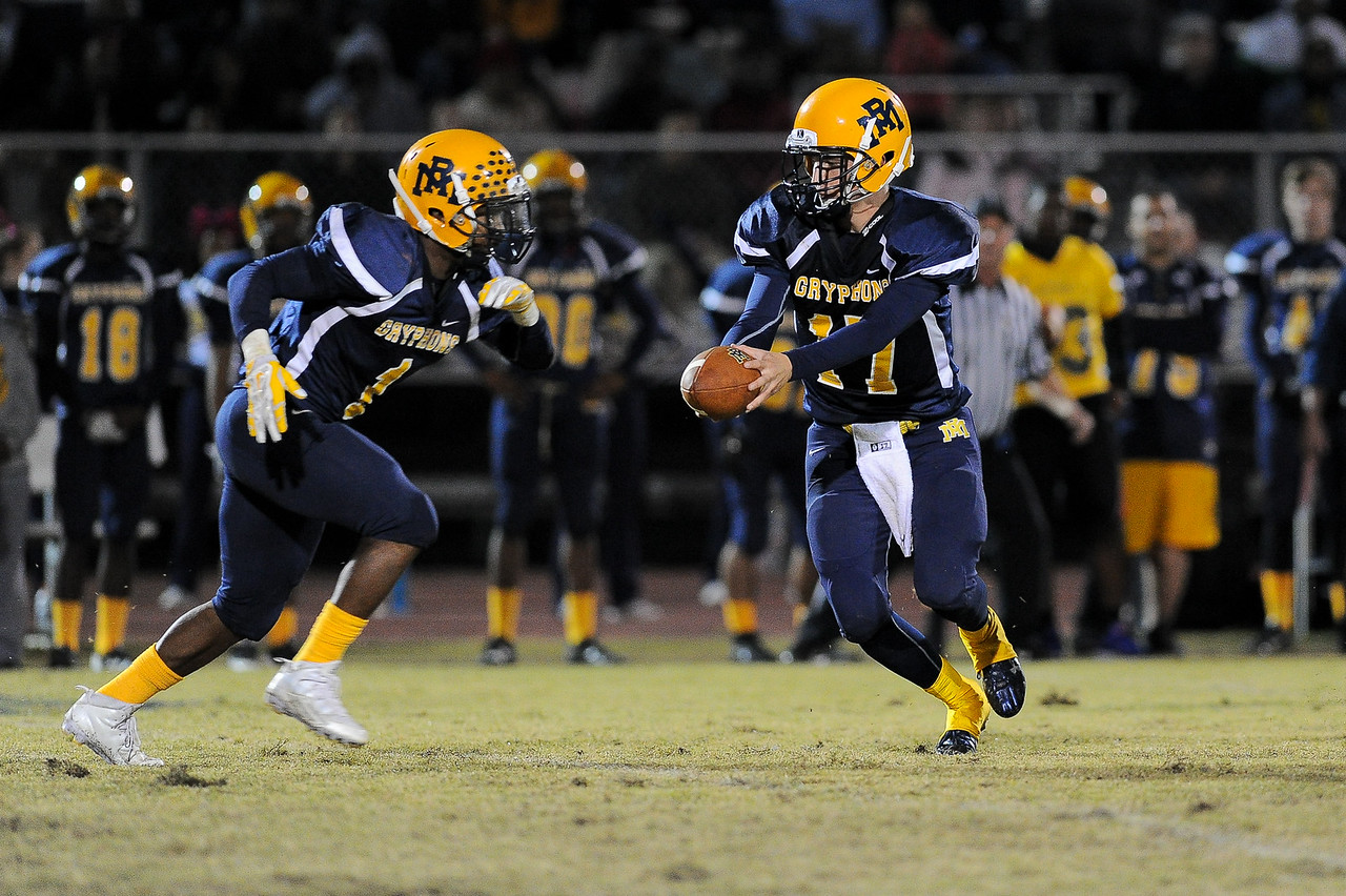 Rocky Mount Forrest Bell (17) and Rocky Mount Bj Sanders (1) Rocky Mount defeats Southern Nash 35-14 Friday evening October 30, 2015 in Rocky Mount, NC (Photos by Anthony Barham / WRAL contributor.)