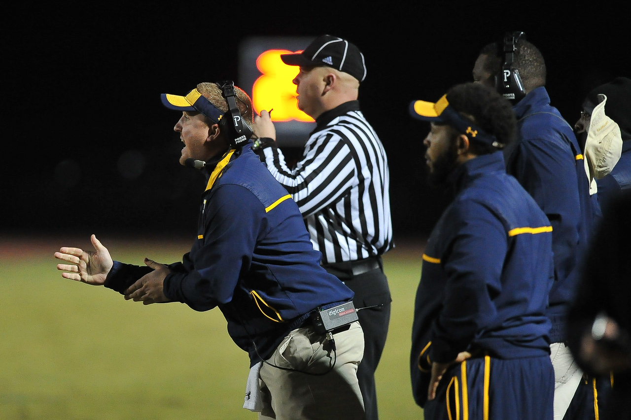 Rocky Mount coach during tonights game. Rocky Mount defeats South Johnston in the 2nd round of the playoffs 34-20 Friday evening November 20, 2015 in Rocky Mount NC (Photos by Anthony Barham / WRAL contributor.)