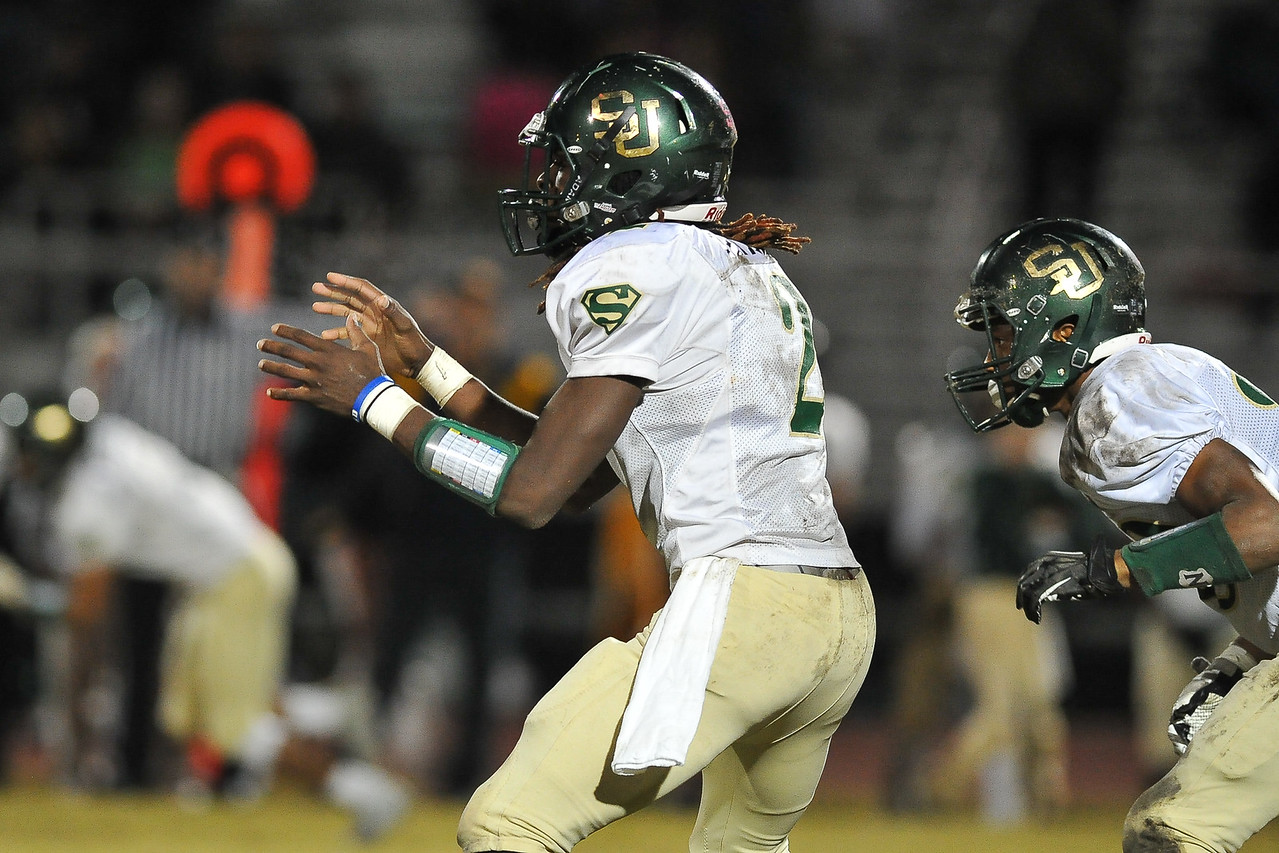 South Johnston Jac'quel Walker (2) during tonights game. Rocky Mount defeats South Johnston in the 2nd round of the playoffs 34-20 Friday evening November 20, 2015 in Rocky Mount NC (Photos by Anthony Barham / WRAL contributor.)
