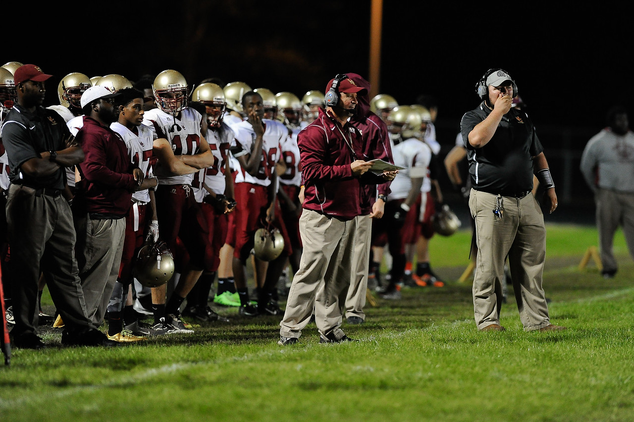 Harnett Central coaches during tonights game.East Wake defeats Harnett Central 60-27 Friday evening November 6, 2015 in Wendell, NC (Photos by Anthony Barham / WRAL contributor.)