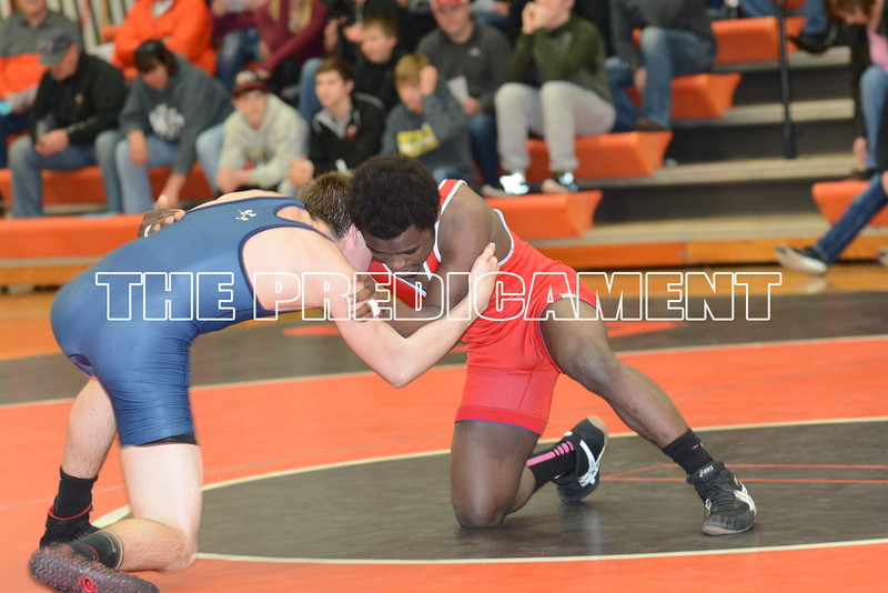 38th Annual North/South All Star Dual - Charles City, IA<br /> 113 – Joseph Sibomana (Cedar Rapids Jefferson, South) dec. Marcus England (Cedar Rapids Prairie, North), 2-1