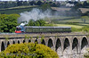 "The RPSI operated a ""Steam Enterprise"" railtour from Whitehead to Dublin Connolly on Sunday 7th June. The outward Special departed Whitehead at 0932 and is pictured crossing over Craigmore Viaduct approaching Newry. Sun 07.06.15 <br /> <br /> Photo courtesy of Barry Pickup."