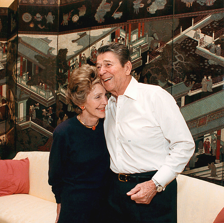 . U.S. President Ronald Reagan and First Lady Nancy Reagan celebrate their 36th wedding anniversary March 4, 1988 at a surprise party at the White House. Former President Reagan turned 90 years-old February 6, 2001 at his home in California. (Photo by Mary-Anne Fackelman-Miner/White House/Newsmakers)