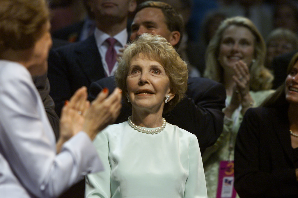. Former First Lady Nancy Reagan is introduced during the second day of the Republican National Convention, August 1, 2000 in Philadelphia. (Photo by Mark Wilson/Newsmakers)