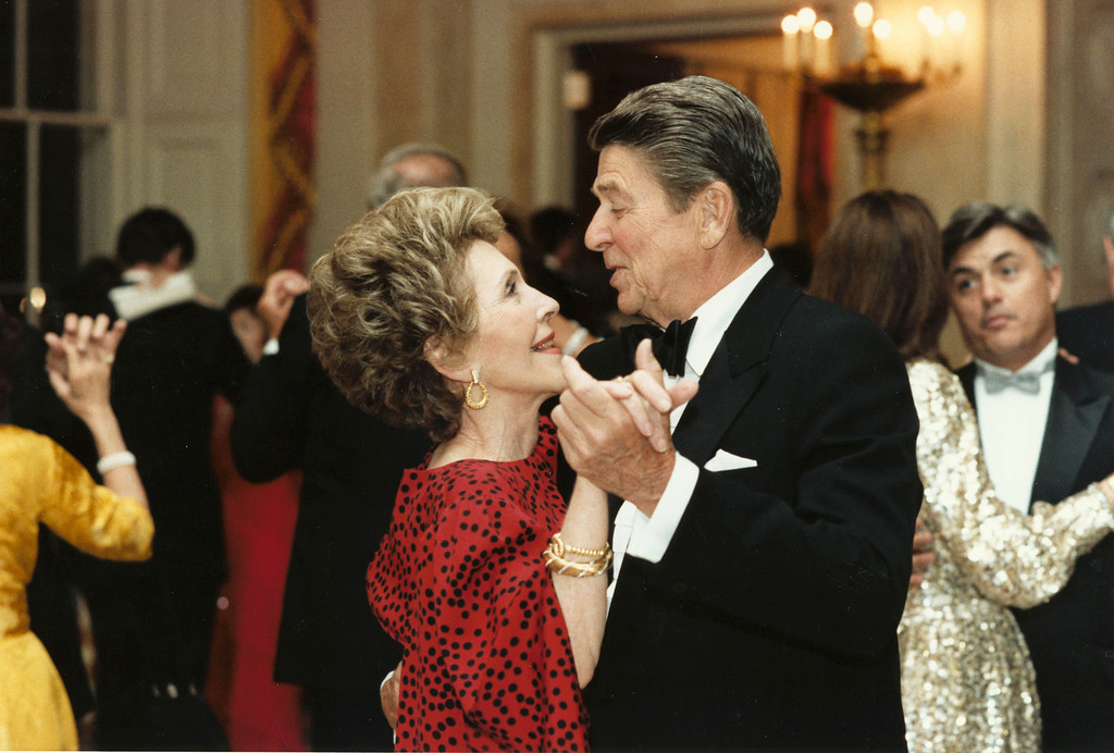 . Former U.S. President Ronald Reagan dances with former First Lady Nancy Reagan in this undated file photo. The couple celebrated their 50th wedding anniversary on March 4th, 2002. (Photo courtesy Ronald Reagan Presidental Library/Getty Images)