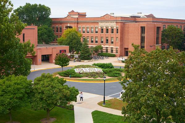 Location; Outside; UWL UW-L UW-La Crosse University of Wisconsin-La Crosse; Mini Bluff; Buildings; Cartwright; Graff Main Hall; Aerial