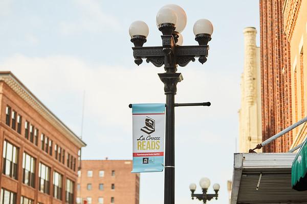 Big Read Downtown La Crosse Signs; UWL UW-L UW-La Crosse University of Wisconsin-La Crosse