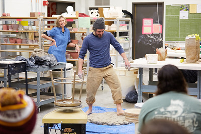 Activity; Art; Buildings; Center for the Arts CFA; Location; Inside; People; Student Students; Type of Photography; Candid; UWL UW-L UW-La Crosse University of Wisconsin-La Crosse; Kevin Lips; Visiting artist; Woodfired Ceramics Workshop