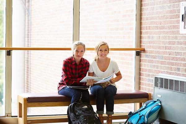 Activity; Buildings; Cowley; Location; Inside; Classroom; People; Student Students; Fall; October; Type of Photography; Candid; UWL UW-L UW-La Crosse University of Wisconsin-La Crosse; Demi Miller twins Tori Miller; Studying