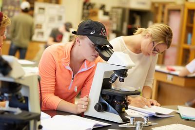 Activity; Lab; Buildings; Cowley; Location; Inside; Classroom; People; Student Students; Fall; October; Type of Photography; Candid; UWL UW-L UW-La Crosse University of Wisconsin-La Crosse; Woman Women