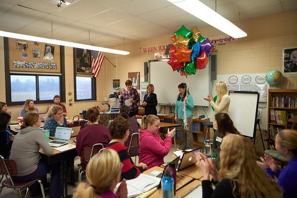 Activity; Awards; Collaboration; Teachers at Emerson Elementary recieve an award from UWL's School of Education; UWL UW-L UW-La Crosse University of Wisconsin-La Crosse