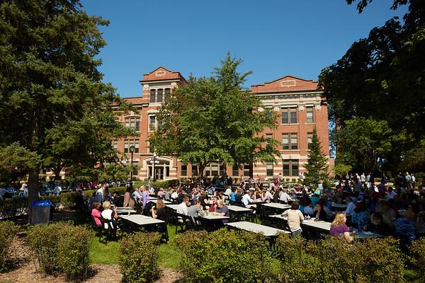Activity; Reception; Speaking; Buildings; Graff Main Hall; People; Chancellor Joe Gow; Summer; August; Time/Weather; day; Type of Photography; Candid; UWL UW-L UW-La Crosse University of Wisconsin-La Crosse