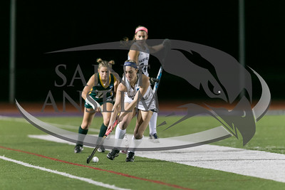 Easton, Massachusetts - November 18, 2016: NCAA Division II Field Hockey Championship, semi-final. In overtime, LIU Post (green) defeated St Anselm (white), 1-0, on Coughlin Memorial Field, in W.B. Mason Stadium at Stonehill College.