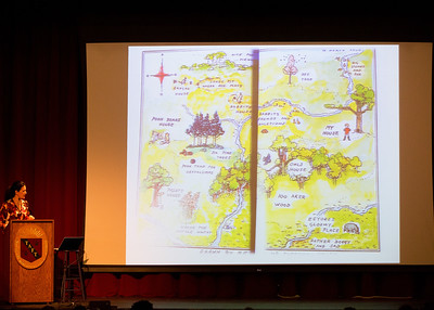 """Kathryn Aalto, author of """"The Natural World of Winnie-the-Pooh: A Walk Through the Forest that Inspired the Hundred Acre Wood"""", speaks to students during Morning Meeting."""