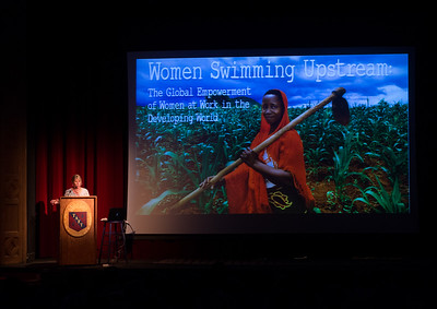 Documentary photographer Alsion Wright speaks during Morning Meeting
