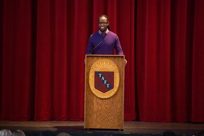 Dr. Ibram Kendi speaks during Morning Meeting