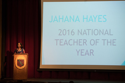 2016 National Teacher of the Year Jahana Hayes speaks during Morning Meeting