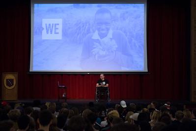 Spencer West speaks during Morning Meeting