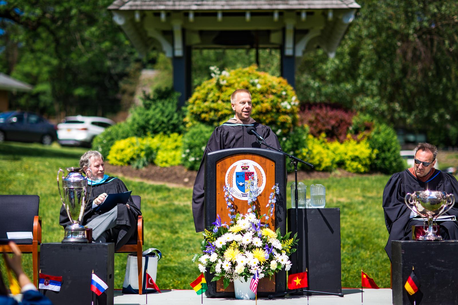 Keynote Speaker Col. Timothy L. Kopra addresses the seniors