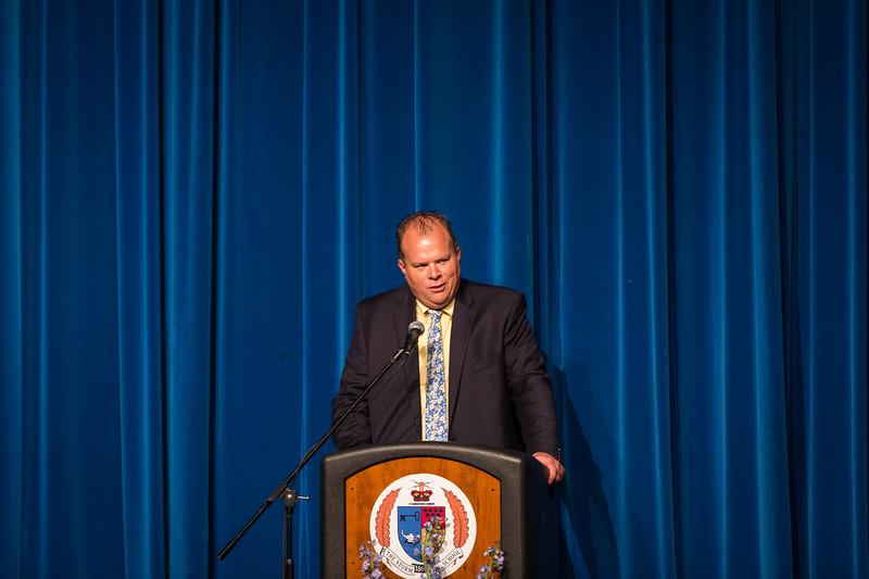Dr. Timothy Lance, Mathematics Chair, giving the Senior Address