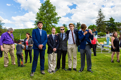 Seniors Nicholas Budich, Sebastian Zucker, Mark Katz Jr., Michael Roper, Dennis Richard McMahon IV after the Butterfly Ceremony
