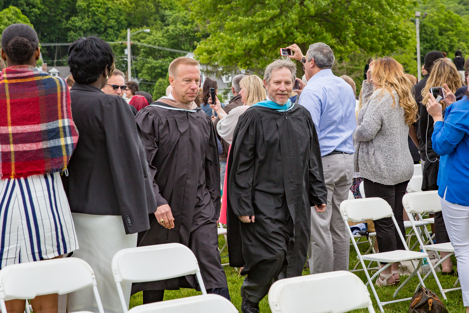 Col. Timothy Kopra and Headmaster Jonathan Lamb lead the processional