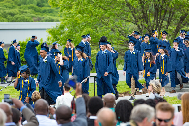 The Senior Class of 2017 enter with their caps and gowns