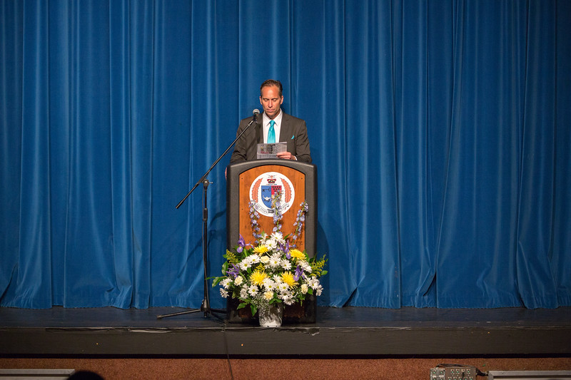 English Department Faculty Peter Rowe introduces the Senior Service