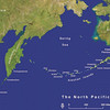 Map showing Adak in middle of Aleutians.