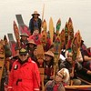 Tlingit canoes rafted to the Sea Wolf while waiting to paddle to the Tribal House celebration.