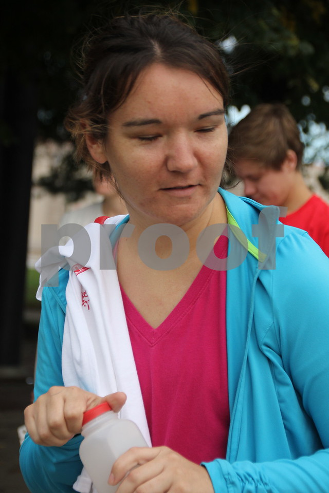 The 2016 Applefest Run took place at the city square by the Fort Dodge Library on Sunday, September 25, 2016. Along with participants that were running in the event there were refreshments available for runners after their run, and a few games for the kids complete with prizes. Seen is: Heather Showers, one of the runners at the day's event.