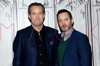 """New York, NY - April 05 2016:  Matthew Perry and Thomas Lennon discussing season 2 of the CBS show """"The Odd Couple"""" at BUILD Studio."""
