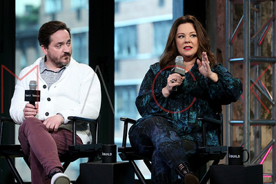 """New York, NY - April 06 2016:  Ben Falcone and Melissa McCarthy discussing """"The Boss"""" at BUILD Studio."""