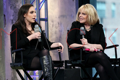 """New York, NY - April 05 2016:  Kim Friedman and Kate Siegel discussing the book """"Mother, Can You NOT?"""" at AOL Studios."""