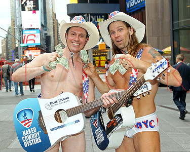NEW YORK, NY - JUNE 07:  The Naked Cowboys and Cowgirl Appear In Times Square To Raise Awareness For Tourette Syndrome on June 7, 2016 in New York City.