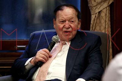 NEW YORK, NEW YORK - MARCH 14:  Business Magnate Sheldon Adelson In Conversation With Rabbi Shmuley Boteach at The World Values Network.