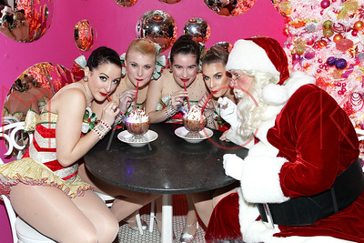 NEW YORK, NY - NOVEMBER 29:  The Rockettes and Santa visit with the Garden Of Dreams Children at Serendipity 3 on November 29, 2016 in New York City.