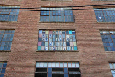 Window sign at the Warehouse Artist Lofts