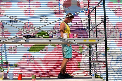 By mid-week, David Fiveash has made significant progress on his mural at 1025 R Street.